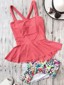 Falbala Dasiy High Waisted Peplum Tankini - Watermelon Red L