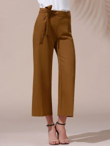 Solid Color Belted High Waist Wide Leg Pant