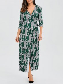 Leopard Wrap Maxi Dress - Leopard L