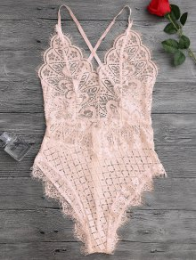 Scaolloped Sheer Cuello De Encaje Teddy Bodysuit - Albaricoque