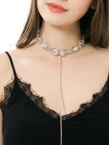 Sparkly Faux Crystal Rhinestone Alloy Chain Necklace