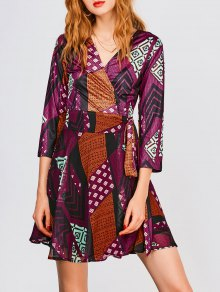 V Neck Patchwork Print Wrap Dress