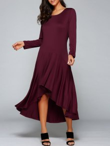 High Low Long Sleeve Dress - Wine Red L