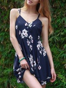 Slip Backless Floral Print Swing Dress - Blue 2xl
