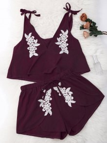 Drawstring Lace Applique Loungewear Suit - Burgundy S