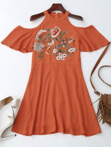 Jewel Neck Cold Shoulder Floral Embroidered Dress - Orange Red L