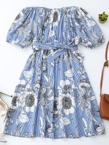 Off Shoulder Striped Floral Dress With Belt