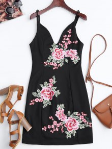 Floral Embroidered Mini Bodycon Dress