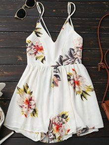 Spaghetti Strap Backless Floral Wide Leg Romper - White