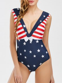 Low Cut Patriotic American Flag Swimwear - Deep Blue S