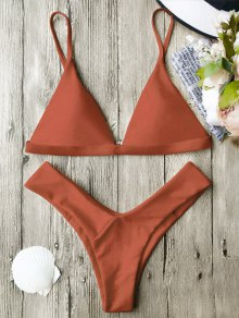 Soft Pad Spaghetti Straps Thong Bikini Set - Burnt Orange S