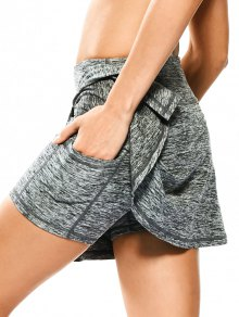 Skirted Space Dyed Sporty Shorts - Light Gray S