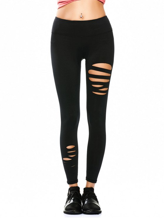 Ripped Tights Running Sports Leggings - BLACK M Mobile