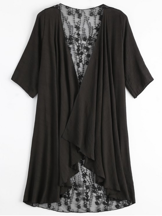 shops Sheer Embroidery Kimono Cover Up - BLACK ONE SIZE