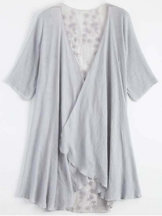 latest Sheer Embroidery Kimono Cover Up - LIGHT GRAY ONE SIZE