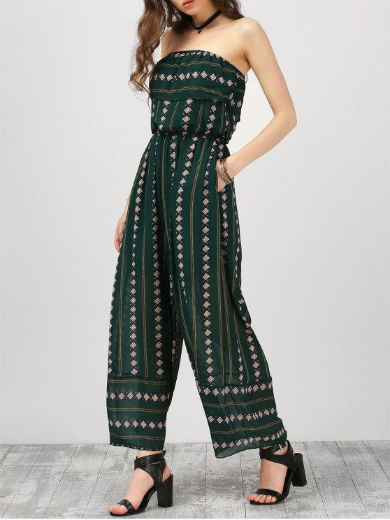 trendy Strapless Ruffle Argyle Wide Leg Jumpsuit - BLACKISH GREEN S
