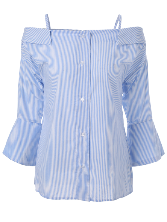 Striped Cold Shoulder Bell Sleeve Shirt - LIGHT BLUE 2XL Mobile