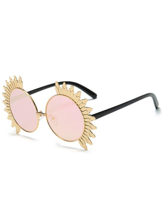 ladies Metal Sun Design Frame Mirror Round Sunglasses - PINK