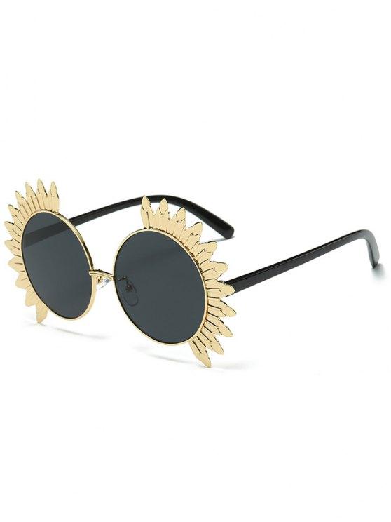 best Metal Sun Design Frame Mirror Round Sunglasses - BLACK