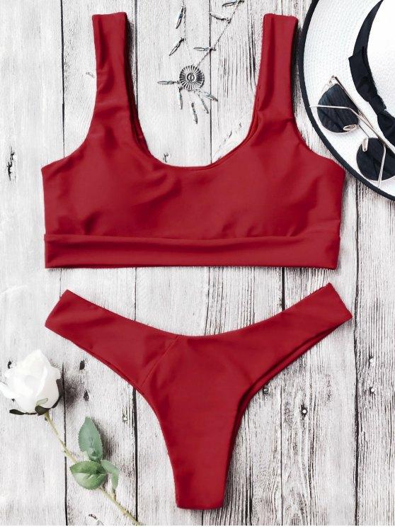 Traje de Bikini con Thong con Aros con Cuello en U - Rojo M