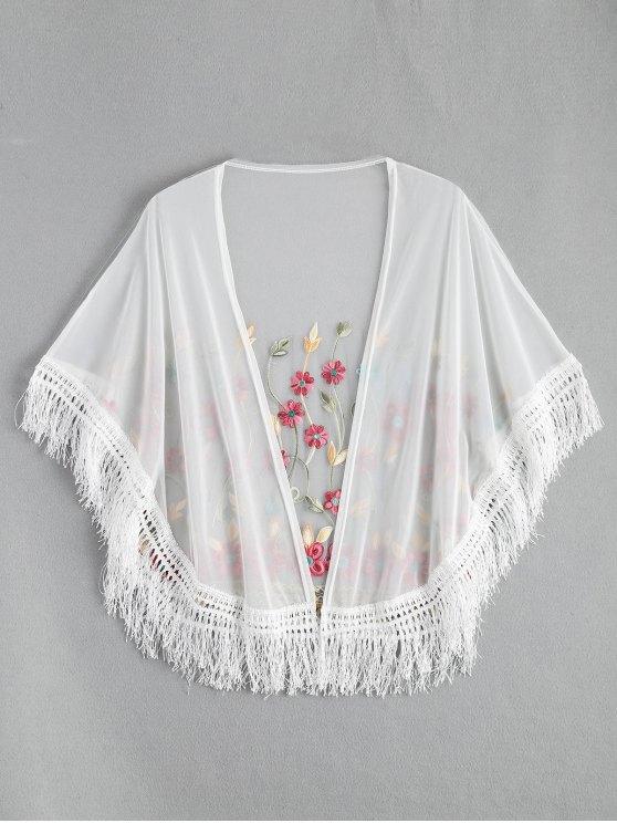 Kimono bordado de la borla de la malla cubre para arriba - Blanco Única Talla