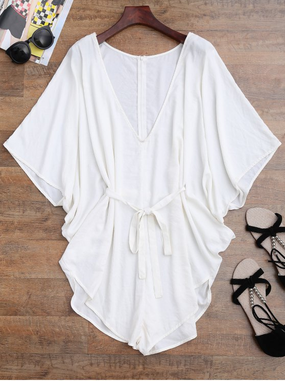 Drawstring Cover Up Batwing Romper - WHITE S Mobile