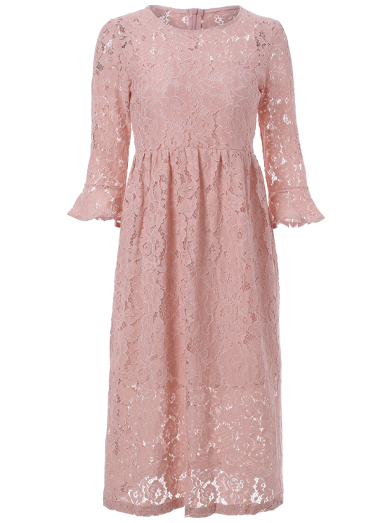 Round Neck Flare Sleeve Lace Dress - PINK S Mobile