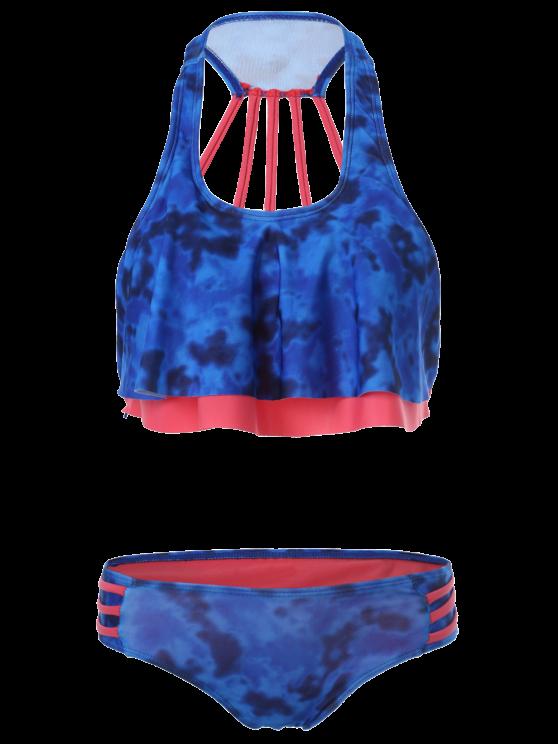U Neck Tie Dye Flounce Bikini - MULTICOLOR S Mobile