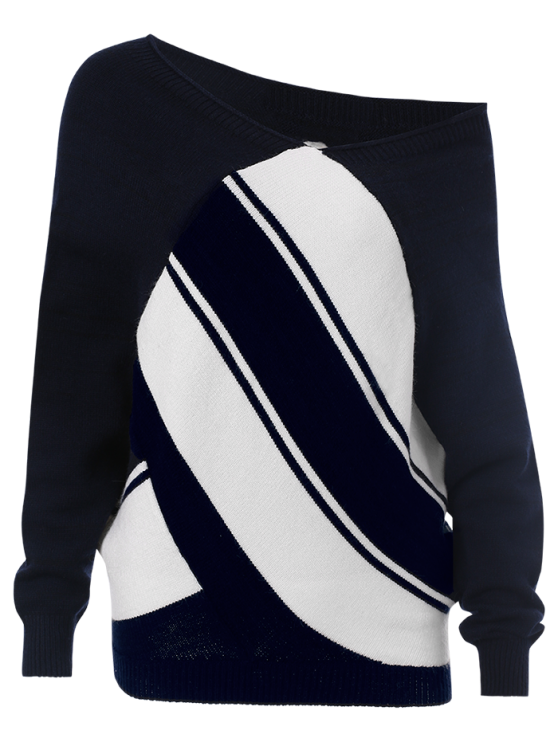 Pullover Skew Neck Color Block Sweater - PURPLISHBLUE + WHITE M Mobile