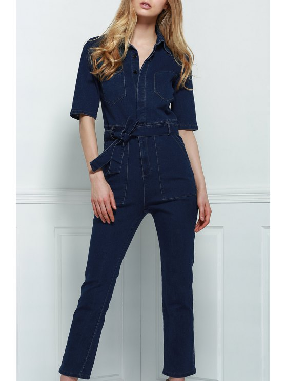 hot Denim Patch Pocket Flared Jumpsuit - DEEP BLUE S
