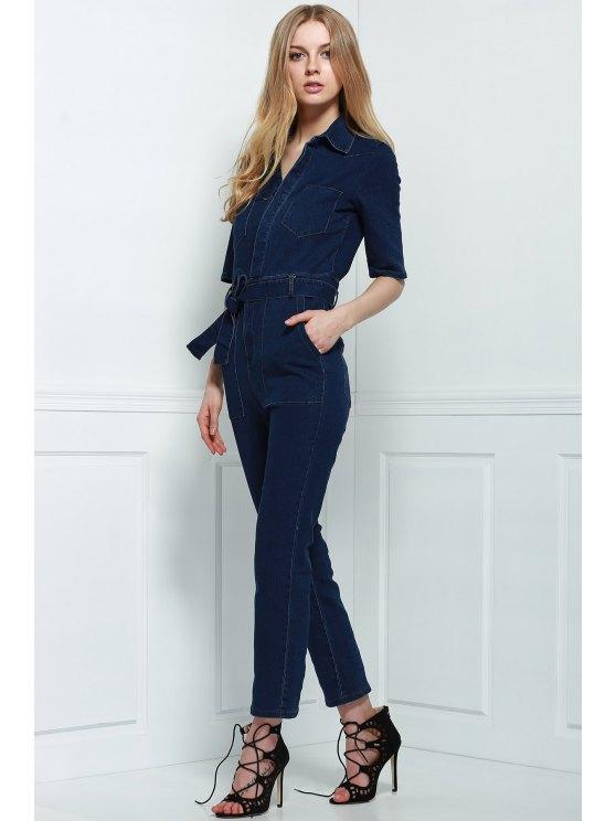 Denim Patch Pocket Flared Jumpsuit - DEEP BLUE S Mobile