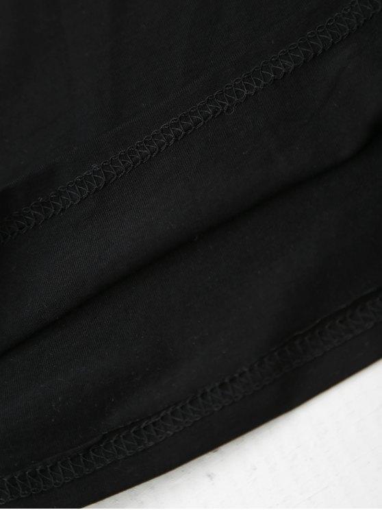 Cami Flower Applique V Neck T-Shirt - BLACK L Mobile