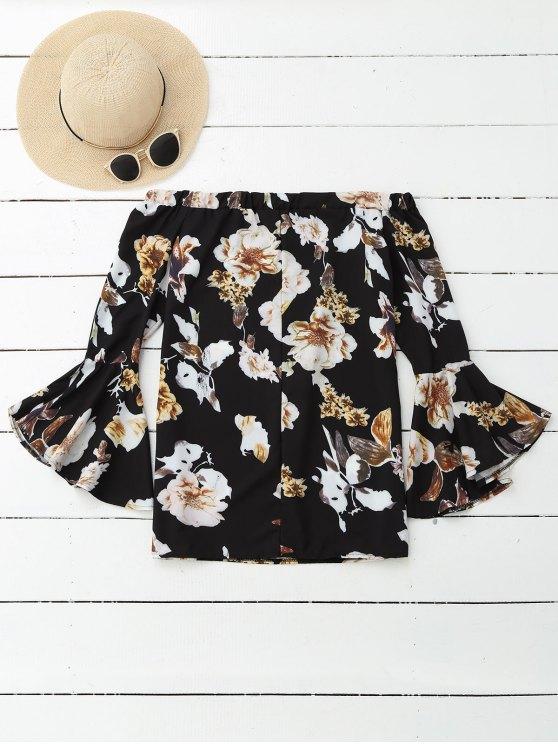 Floral Off Shoulder Bell Sleeve Blouse - COLORMIX S Mobile