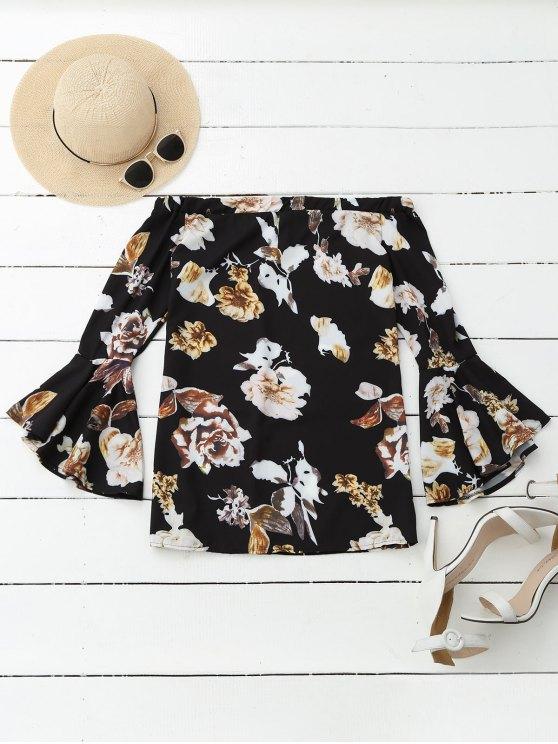shop Floral Off Shoulder Bell Sleeve Blouse - COLORMIX M