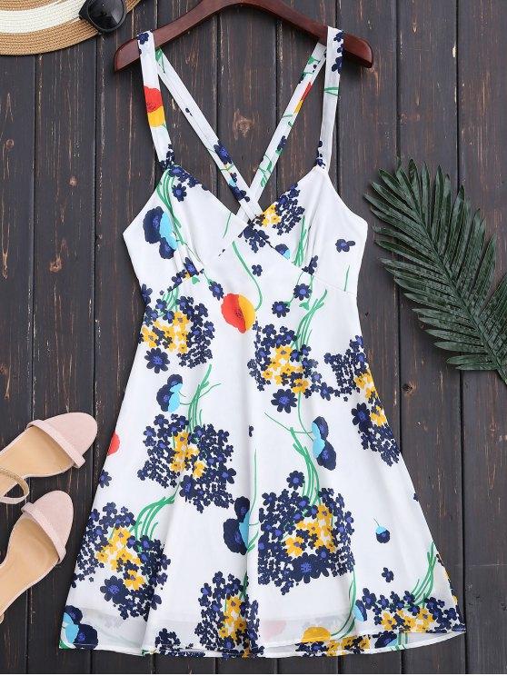 trendy Floral Open Back Empire Waist Summer Dress - WHITE XL