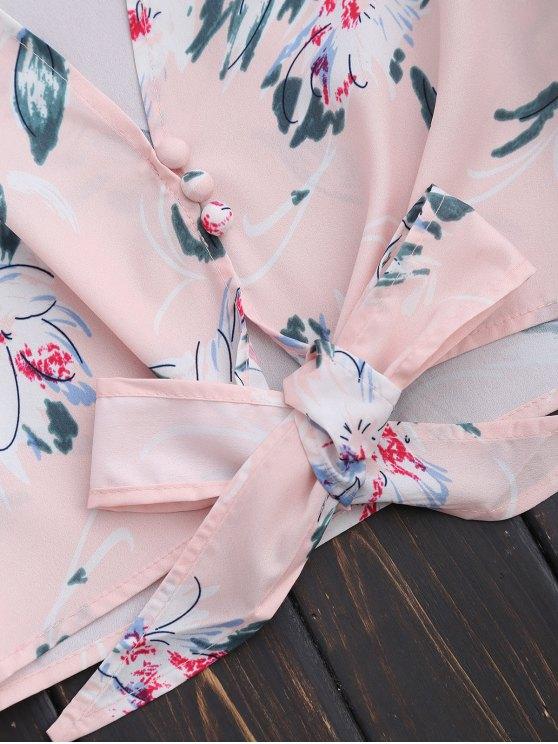 Plunge Floral Knot Hem Crop Top - LIGHT PINK M Mobile