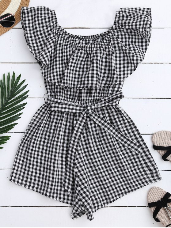 affordable Off Shoulder Ruffle Plaid Romper With Belt - BLACK XL
