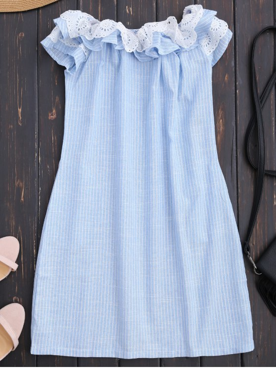buy Off Shoulder Ruffle Striped Dress With Pockets - LIGHT BLUE S