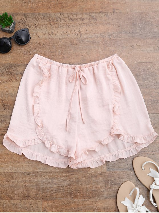 Satin Drawstring Tulip Cover Up Pantalones cortos - Rosa beige  L