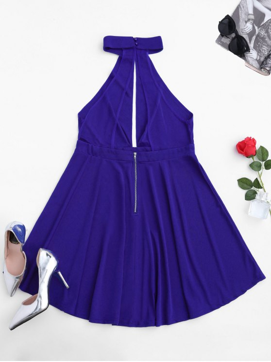 Sleeveless Plunge Mesh Backless Dress - BLUE M Mobile