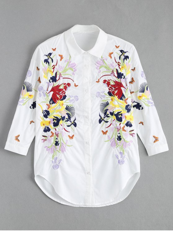 sale Floral Butterfly Embroidered Shirt - WHITE S
