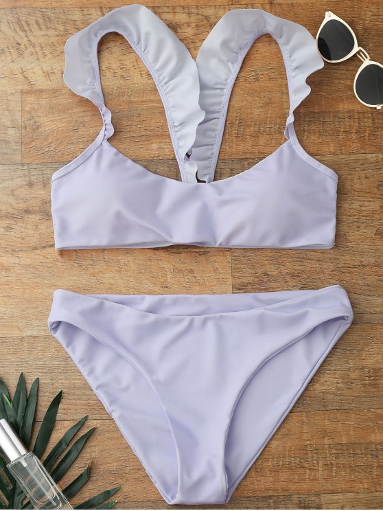 Ruffles Strap acolchado Scoop conjunto de bikini - Morado Claro L