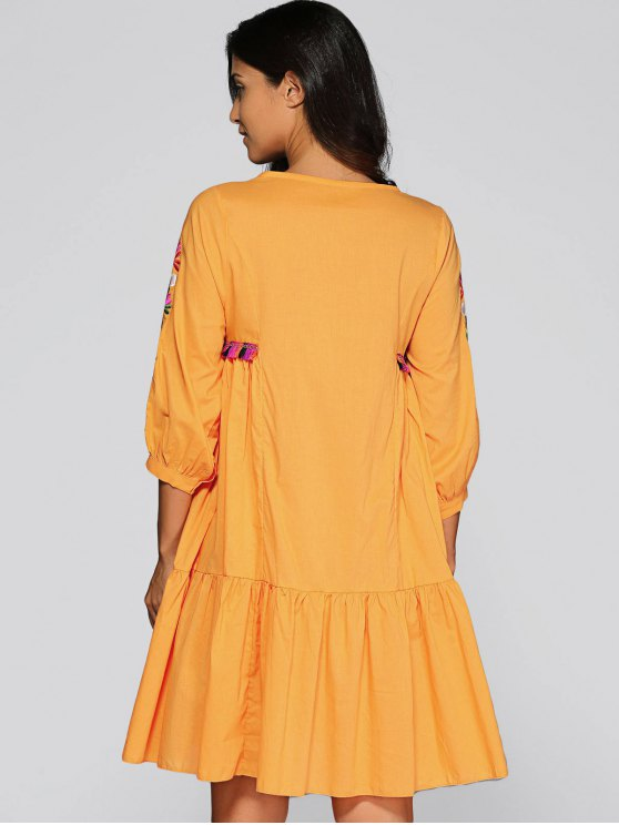 Embroidered Smock Dress - GINGER M Mobile