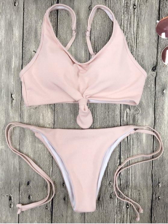 Juego de bikini Cami Bralette String - Rosa L