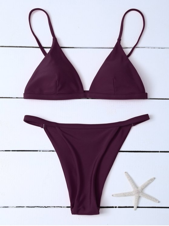 online Low Waisted Spaghetti Strap Bikini Swimwear - WINE RED S
