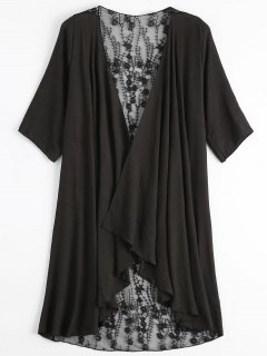 Sheer Embroidery Kimono Cover Up - Black