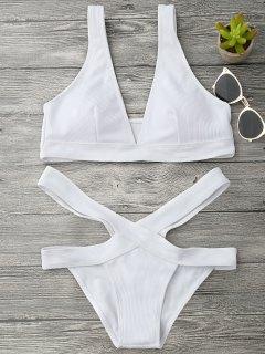 Plunge Midi Bikini Top And Bandage Bottoms - White M
