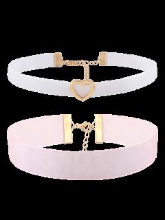 Heart Velvet Choker Necklace Set - Multicolor