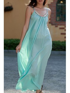 Carter Splice Cami Backless Maxi Dress - Turquoise L