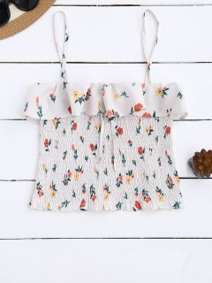Cami Smocked Ruffles Tank Top - Floral S
